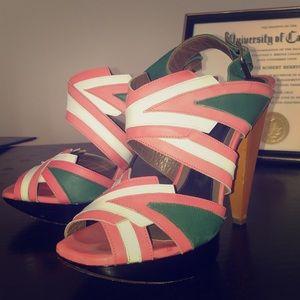 Green, pink, white paneled Marni heels
